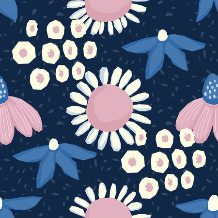 Seamless pattern Vector floral design with chamomile and wildflowers. Romantic background print for fabrics and wallpapers. Stock Illustratie