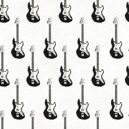 Seamless Rock background with electric guitars. Abstract music modern pattern. Hand drawn illustration. Banco de Imagens