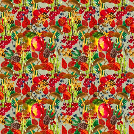 Autumn watercolor seamless pattern with leaves mushrooms and pine cones. Seasonal hand painted design with rowan, branches, berries and apples Banque d'images - 138456597