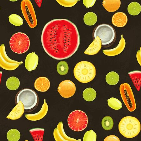 Hand drawn seamless pattern with bananas, coconuts, pineapples papaya and watermelon. Summer background with exotic food. Top view. Wallpaper or textile tropic print