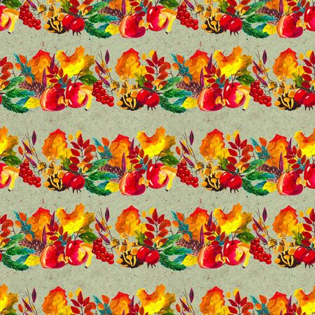 Autumn watercolor seamless pattern with leaves mushrooms and pine cones. Seasonal hand painted design with rowan, branches, berries and acorns Banque d'images - 138456619
