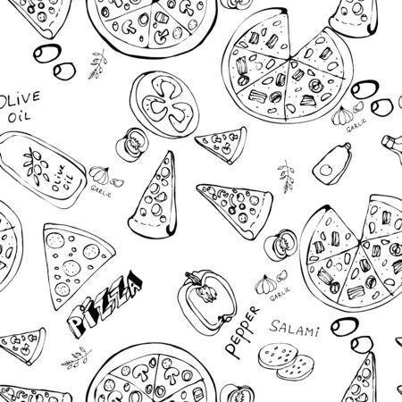 Modello senza cuciture con fette di pizza disegnate a mano. Priorità bassa dell'alimento di vettore in bianco e nero. Design monocromatico per tessuto, sfondi, carta da imballaggio, carte e web. Scarabocchio arte. Schizzo di ingredienti da cucina