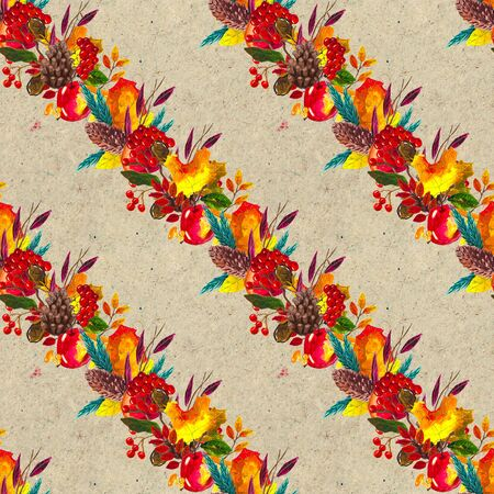 Autumn watercolor seamless pattern with leaves mushrooms and pine cones. Seasonal hand painted design with rowan, branches, berries and acorns Banque d'images - 138456919