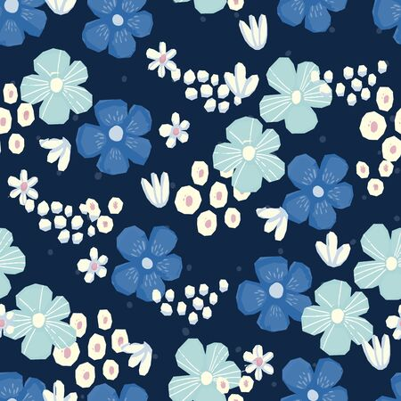 Seamless pattern Vector floral design with chamomile and wildflowers. Romantic background print for fabrics and wallpapers. Ilustrace