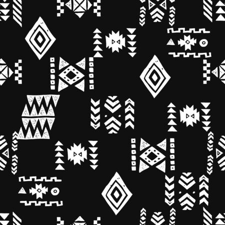 Tribal ethnic background. Stylish primitive geometric seamless pattern. Trendy print grunge texture vector illustration. Monochrome fabric textile. White on black Ilustración de vector