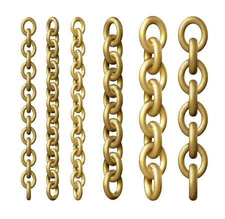 Gold metal chains in different angles. 3d realistic illustration. Jewelry set Foto de archivo - 138457260