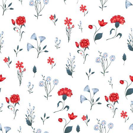 Nahtloses Muster Vektorblumenmuster mit Rosen. Romantischer Hintergrunddruck für Stoffe und Tapeten. Vektorgrafik