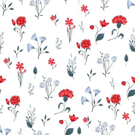 Seamless pattern Vector floral design with roses . Romantic background print for fabrics and wallpapers. Vector Illustration