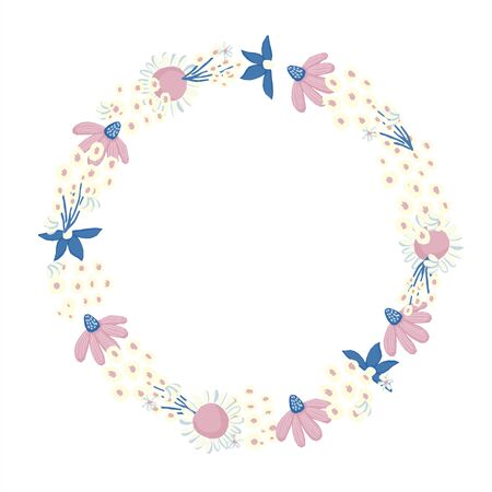 Vector floral wreath. Nature frame with flowers and leaves. Chamomiles and wildflowers