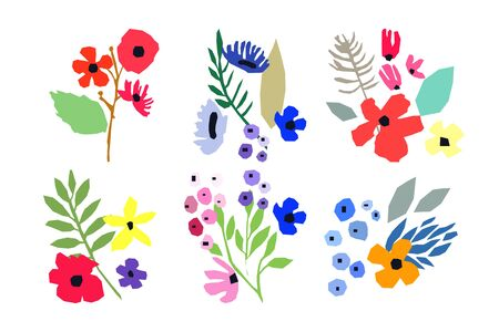 Collection of vector flowers on white background. Six Vector bouquets. Simple design. Spring flowering. Nature illustration. Standard-Bild - 138821014