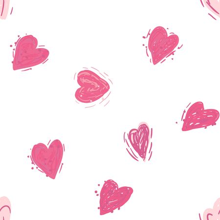 Pink hearts. Vector seamless pattern. Valentines day background. Simple textile print. Fabric swatch or wrapping paper. Modern stylish texture. Good for wedding design