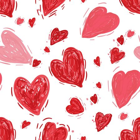 Red and pink hearts. Vector seamless pattern. Valentines day background. Simple textile print. Fabric swatch or wrapping paper. Modern stylish texture. Good for wedding design