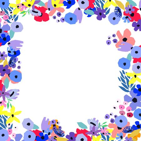 Floral frame. Spring blossom. Border made of cute flowers. Wildflowers leaves and branches. Vector Template for greeting cards or invitations.
