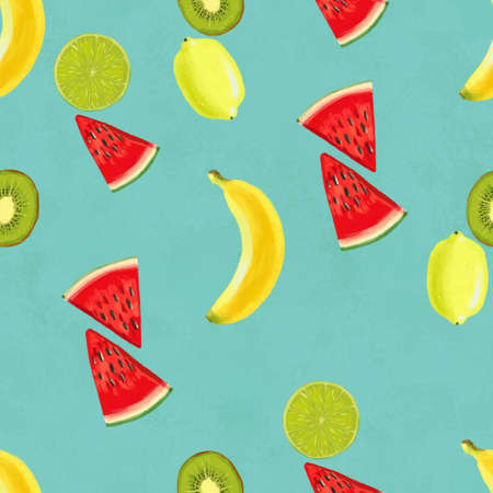Hand drawn seamless pattern with bananas, coconuts, pineapples papaya and melon. Summer background with exotic fruits. Top view. Wallpaper or textile tropic print Zdjęcie Seryjne