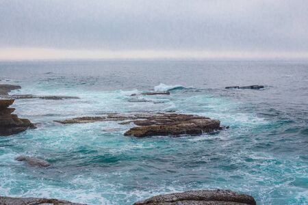 Stone coast and Atlantic ocean in Peniche. Beautiful rocks and sea waves. Portugal Stock fotó
