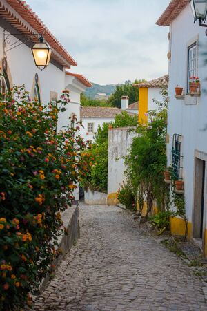 Narrow old cobblestone street. White houses and flowers. Old town Obidos in Portugal, artistic picture