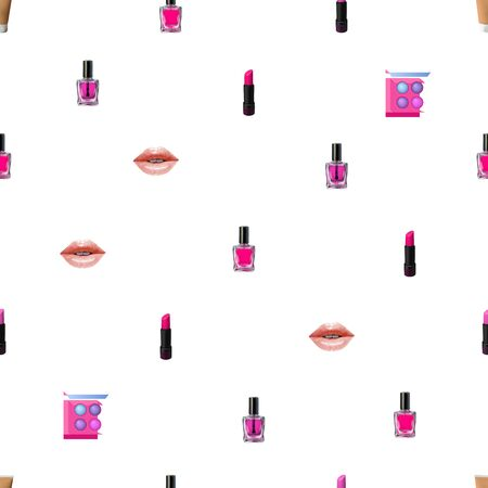 Make up seamless pattern. Vector Beauty background with cosmetic products. Lips, lipstick, eye shadows, eyeliner, concealer and nail polish.