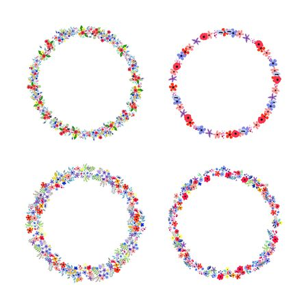 Floral Frame Collection. Set of cute retro flowers arranged un a shape of the wreath