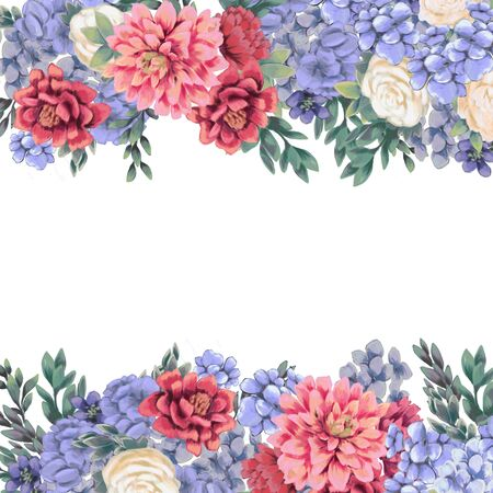 Floral border for design save the date cards, invitations, posters and birthday decoration. Frame hand painted isolated on white background. Pink Chrysanthemum, blue hydrangea and roses Zdjęcie Seryjne - 150475543