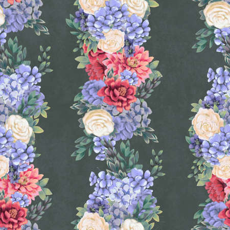 Vintage Floral seamless pattern. Hand-drawn flowers for fabric. Watercolor botanical print 免版税图像
