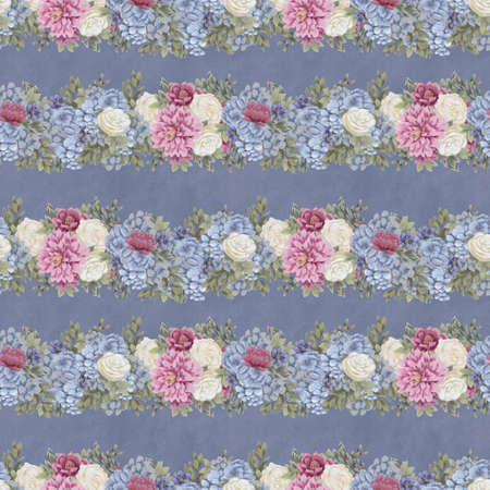 Vintage seamless pattern. Hand-drawn pink, blue and white flowers and leaves for fabric. Floral garland
