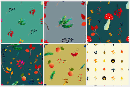 Autumn vector seamless pattern set with berries, acorns, pine cone, mushrooms, branches and leaves. Fall colorful background. Fashion, fabric and prints, wrapping paper. Vecteurs