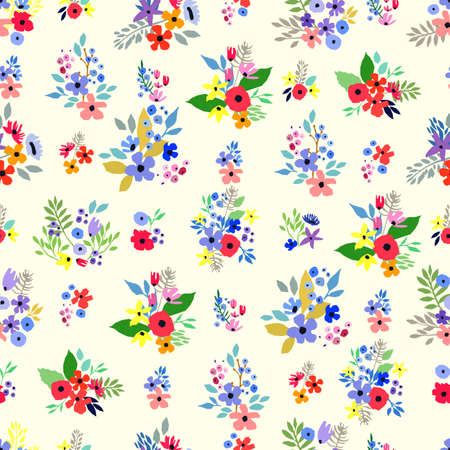 Seamless pattern. Vector floral design with cute wildflowers. Romantic abstract background. Illustration with colorful flowers.