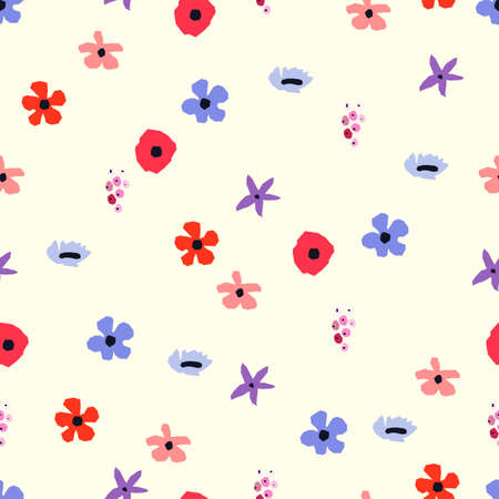 Seamless pattern. Vector floral design with cute wildflowers. Romantic abstract background. Spring nature illustration with colorful flowers. Vettoriali