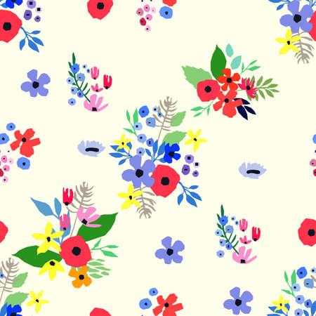 Seamless pattern. Vector floral design with wildflowers. Romantic background print for fabrics and wallpapers. Spring nature illustration. Abstract colorful flowers.