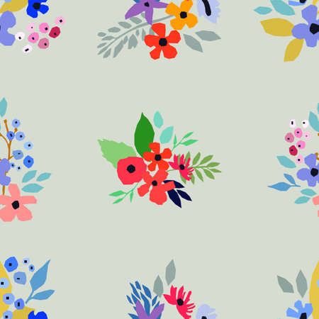 Seamless pattern. Vector floral design with wildflowers. Romantic background print with small flowers for fabrics and wallpapers. Spring nature illustration.