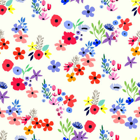 Seamless pattern. Vector floral design with wildflowers. Romantic background. Spring nature illustration. Abstract colorful flowers.