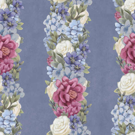 Vintage Floral seamless pattern. Pink, blue and white flowers and leaves for fabric. Botanical textile design