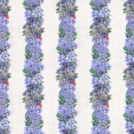 Vintage Floral seamless pattern. Pink, blue and white flowers and leaves for fabric Foto de archivo