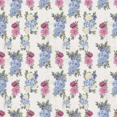 Watercolor floral seamless pattern. Hand painted flowers, background for greeting card, wrapping paper or wedding decoration. Botanical Wallpaper or textile Foto de archivo