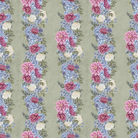 Vintage Floral seamless pattern. Hand-drawn spring flowers for fabric. Foto de archivo