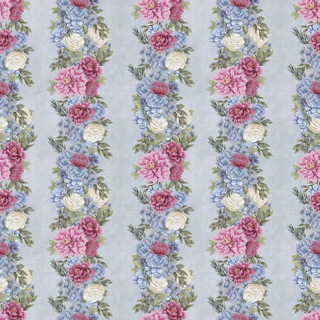 Vintage Floral seamless pattern. Hand-drawn flowers for fabric. Watercolor design