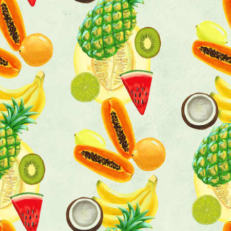 Hand drawn seamless pattern with bananas, coconuts, pineapples papaya and melon. Summer background with exotic fruits. Top view. Wallpaper or textile tropic print Standard-Bild