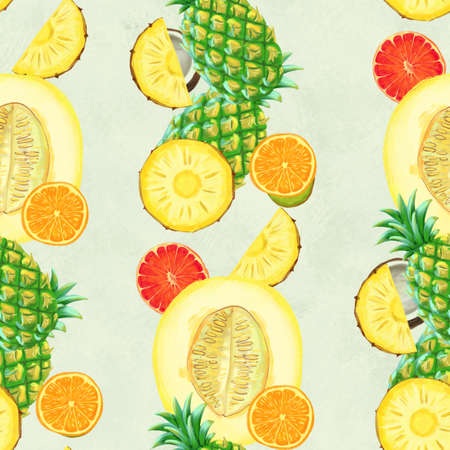 Hand drawn seamless pattern with bananas, coconuts, pineapples orange and melon. Summer background with exotic fruits. Top view. Wallpaper or textile tropic print