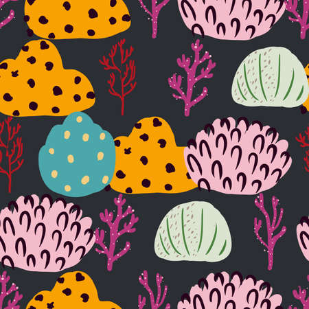 Seamless pattern with corals branches and sea plants. Algae, flowers marine nature. Underwater floral background. Simple style design Ilustração