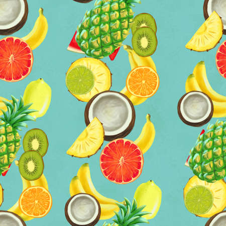 Hand drawn seamless pattern with bananas, coconuts, pineapples grapefruit, orange. Summer background with exotic fruits. Top view. Wallpaper or textile tropic print Zdjęcie Seryjne
