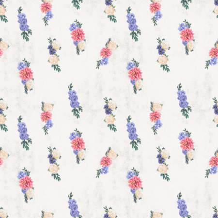 Watercolor floral seamless pattern. Hand painted flowers. Wallpaper or textile with pink chrysanthemum, blue hydrangea and white roses Banque d'images