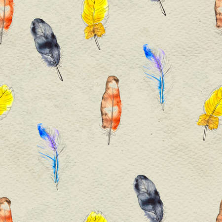Watercolor seamless pattern. Hand painted texture with various colorful feathers. Paper background