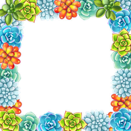 Floral Border. Succulents arranged un a shape of square frame perfect for wedding invitations and birthday cards. Illustration with 3d flowers on white background 版權商用圖片