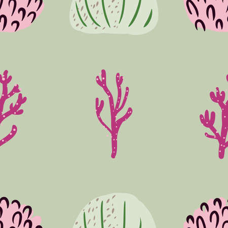 Seamless pattern with corals branches and sea plants. Algae, flowers. Abstract simple print marine nature. Underwater floral print. Çizim