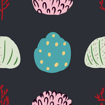 Seamless pattern with corals and sea plants. Algae, flowers. Abstract print marine nature. Underwater floral print with seaweed. Simple style design Çizim