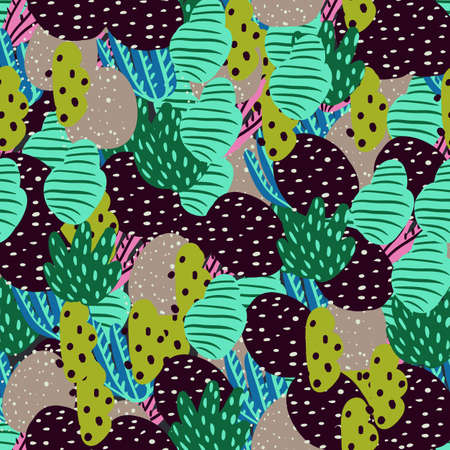 Seamless pattern with corals branches and sea plants. Algae, flowers. Abstract print marine nature. Simple style design