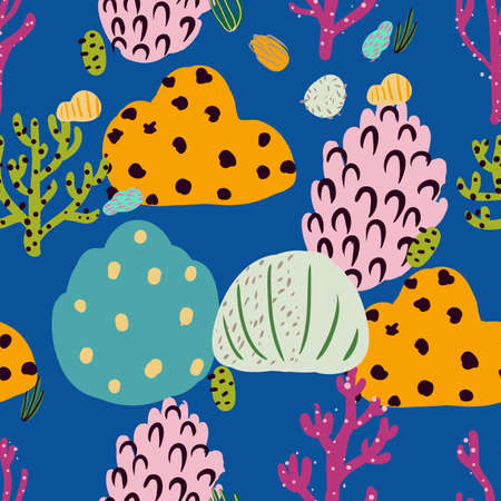 Seamless pattern with corals branches and sea plants. Abstract print marine nature. Underwater floral background. Simple style design