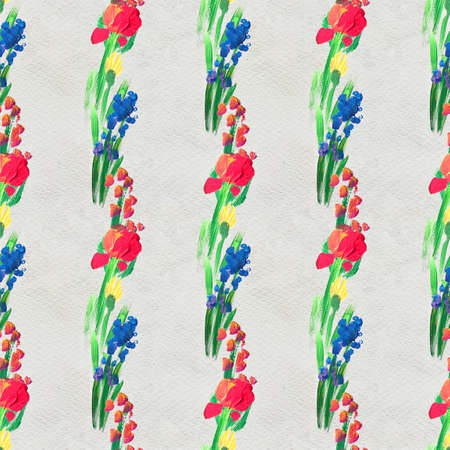 Seamless pattern with Beautiful flowers. Watercolor or acrylic painting. Hand drawn floral artistic print