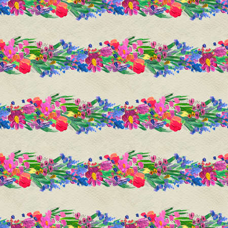 Seamless pattern with Beautiful flowers. Watercolor or acrylic painting. Hand-drawn floral background. Nature print with wildflowers and pappy Stock fotó