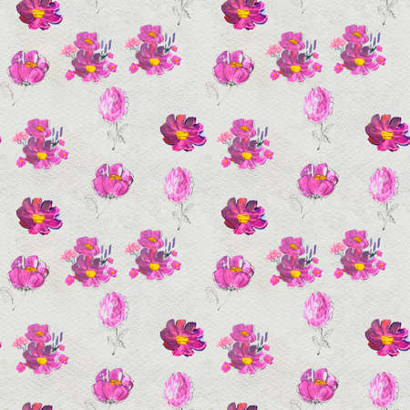 Seamless pattern with Beautiful flowers. Watercolor or acrylic painting. Hand drawn floral background. Wildflower wallpaper with pink wild rose. Nature artistic print design